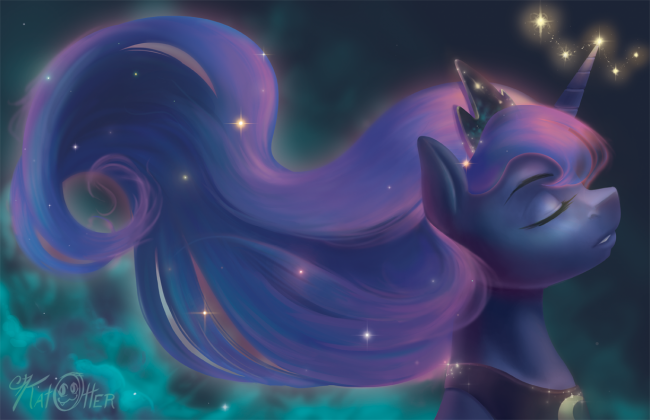 1195963__safe_solo_princess+luna_space_relaxing_artist-colon-katotter_sparkly+mane