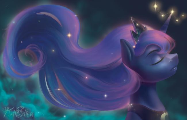 1195963__safe_solo_princess+luna_space_relaxing_artist-colon-katotter_sparkly+mane
